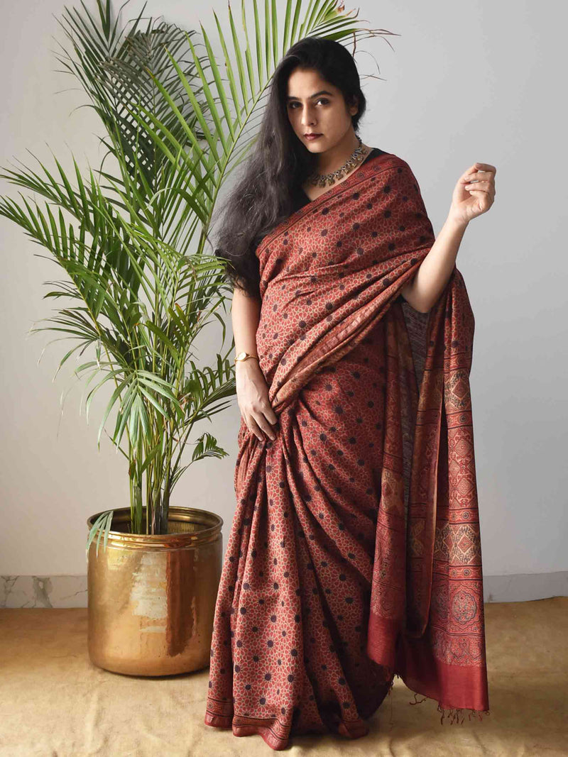 Red Star Ajrakh Handblock Printed Handwoven Eri Silk Saree draping styling
