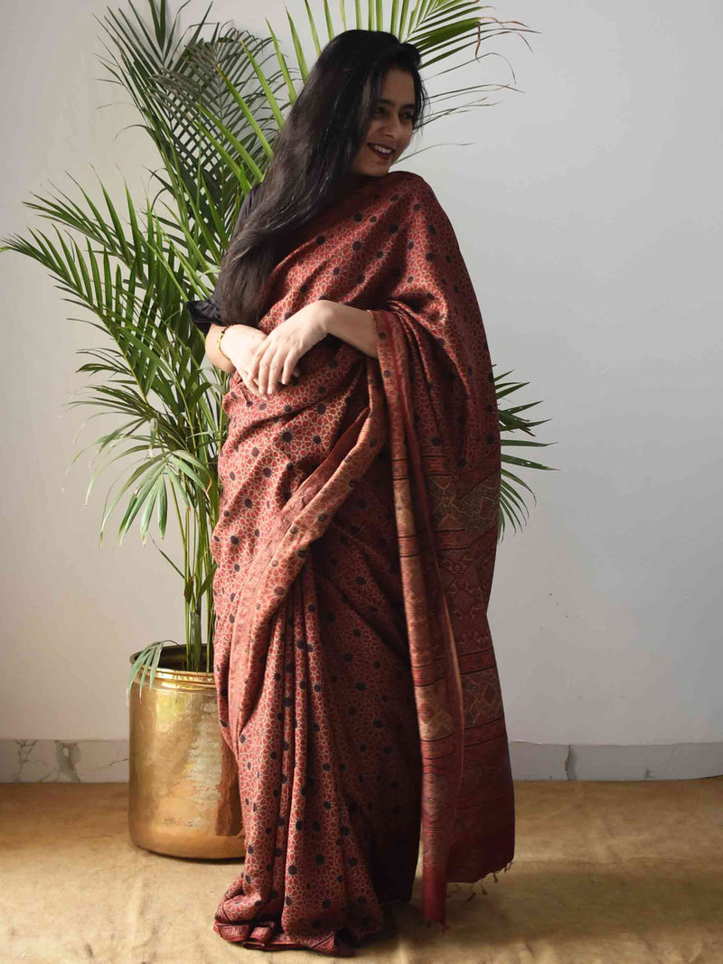 Red Star Ajrakh Handblock Printed Handwoven Eri Silk Saree draping poses at home