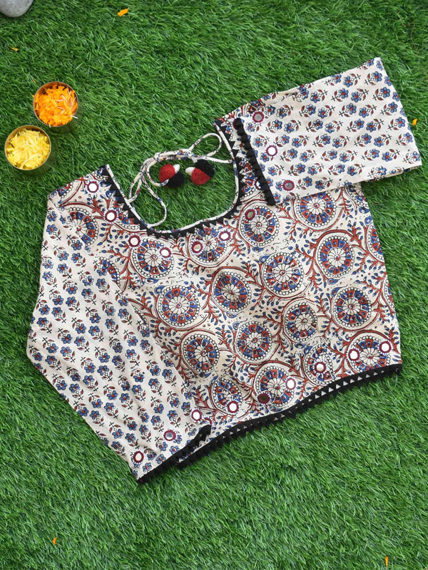 White Geometric Ajrakh hand block printed Kutch mirror work blouse