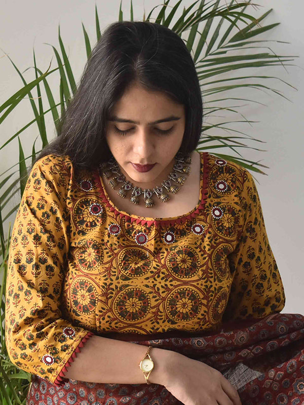 Yellow Ajrakh hand block printed Kutch mirror work blouse