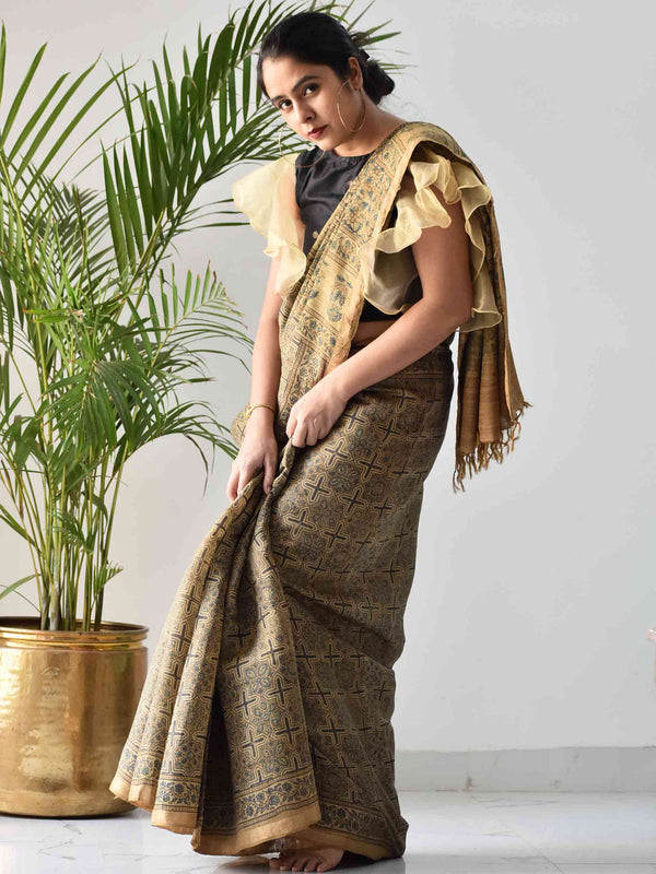 Yellow Ajrakh handwoven tussar silk saree draping at home