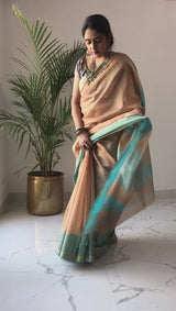 Narmada Banks Maheshwari Silk Saree with Zari Pallu and Border styling