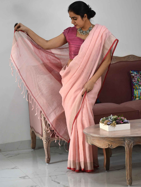 saree in pink