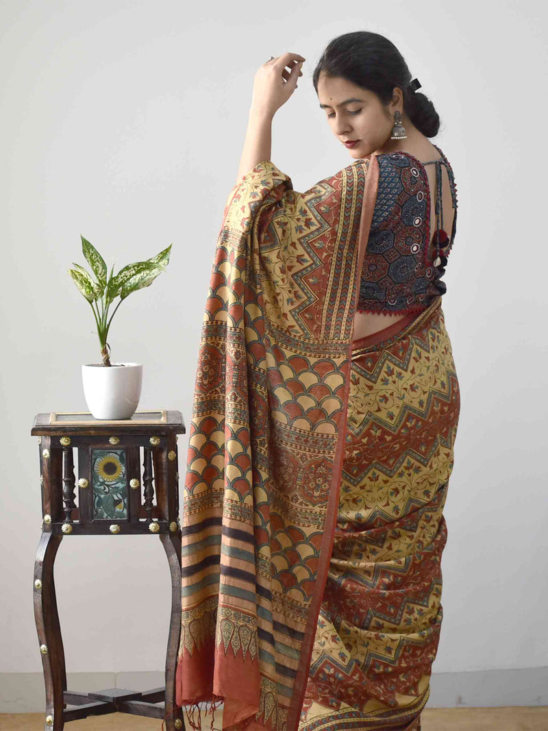 Buy Buy Cream Ajrakh handloom Eri Ahimsa silk saree online