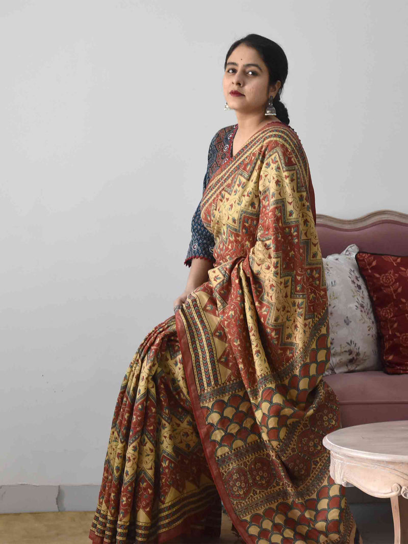 Buy Cream Ajrakh handloom Eri silk saree