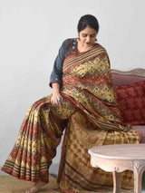 Cream Ajrakh handloom Eri silk saree