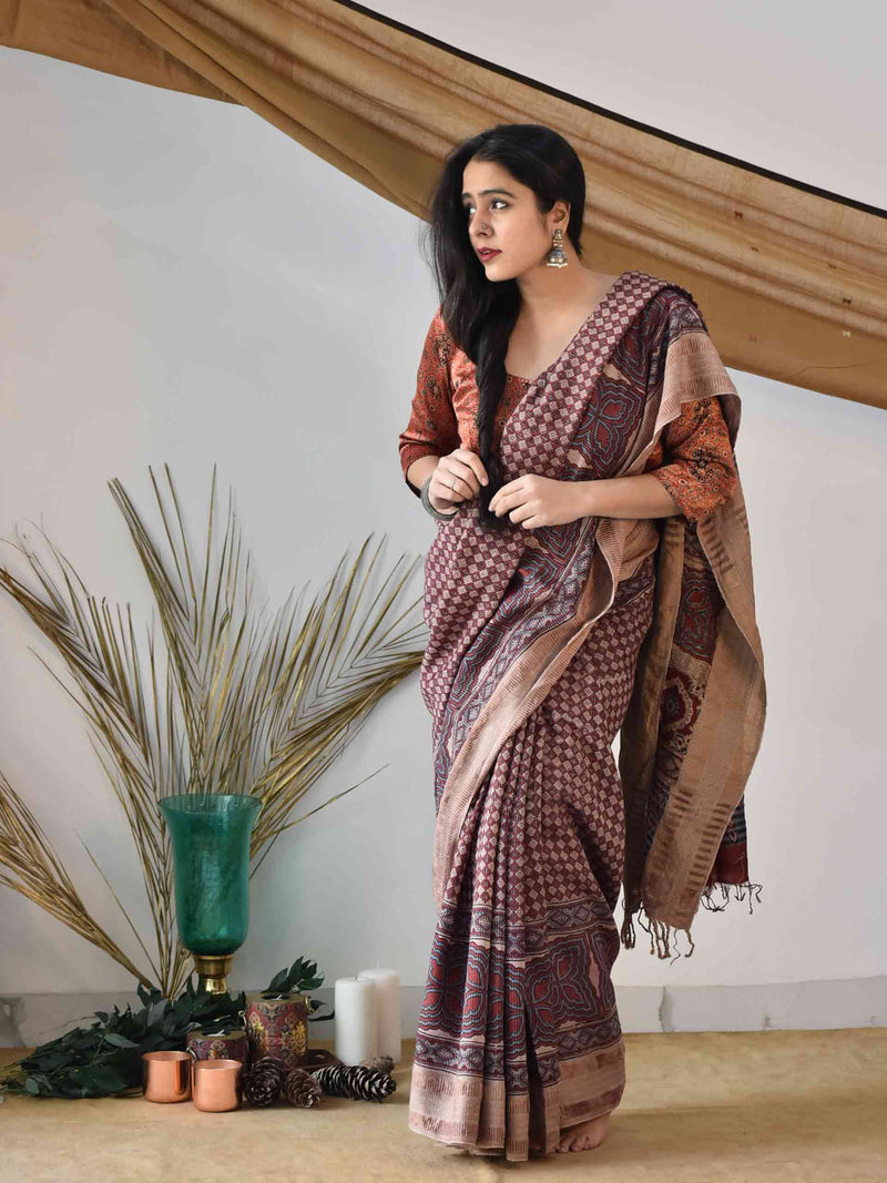 Buy Cream Red Ajrakh handloom Eri silk saree online