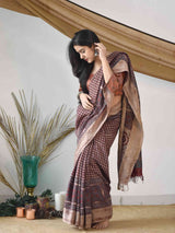 Buy Cream Red Ajrakh handloom Eri silk saree