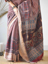 Cream Red Ajrakh handloom Eri silk saree online