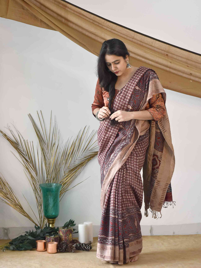 Cream Red Ajrakh handblock printed handloom Eri silk saree