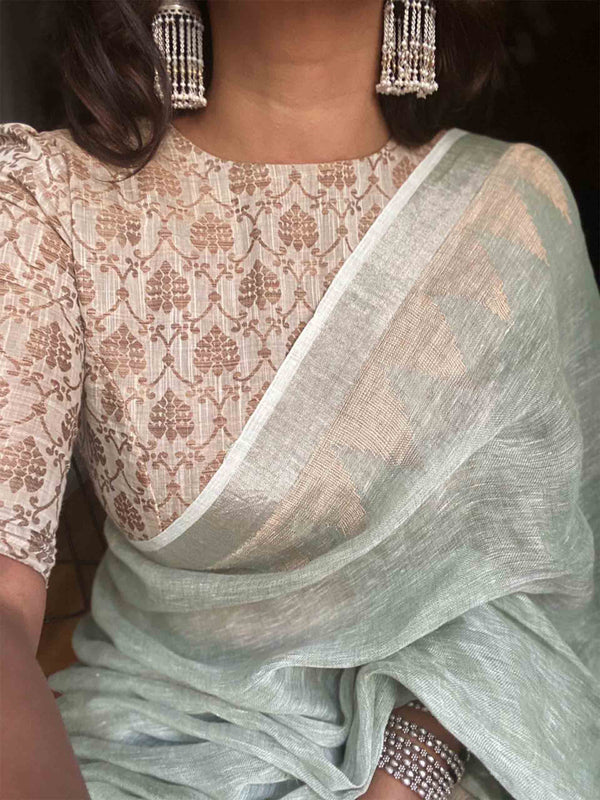 Olive-Green Handwoven Linen saree with temple border