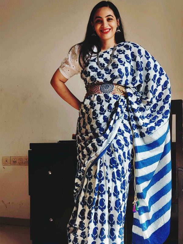 Indigo Dabu handblock printed cotton saree