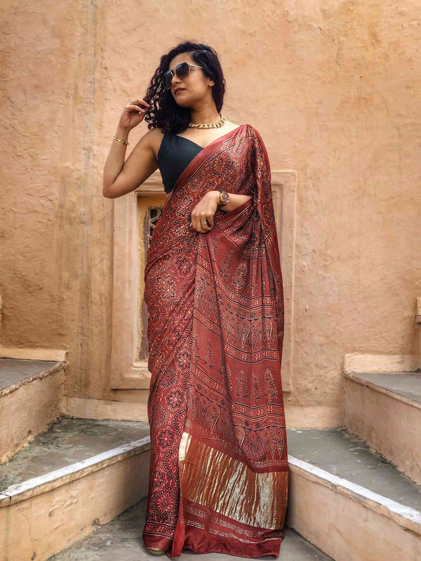 Maroon Ajrakh hand block printed Modal silk saree with zari pallu