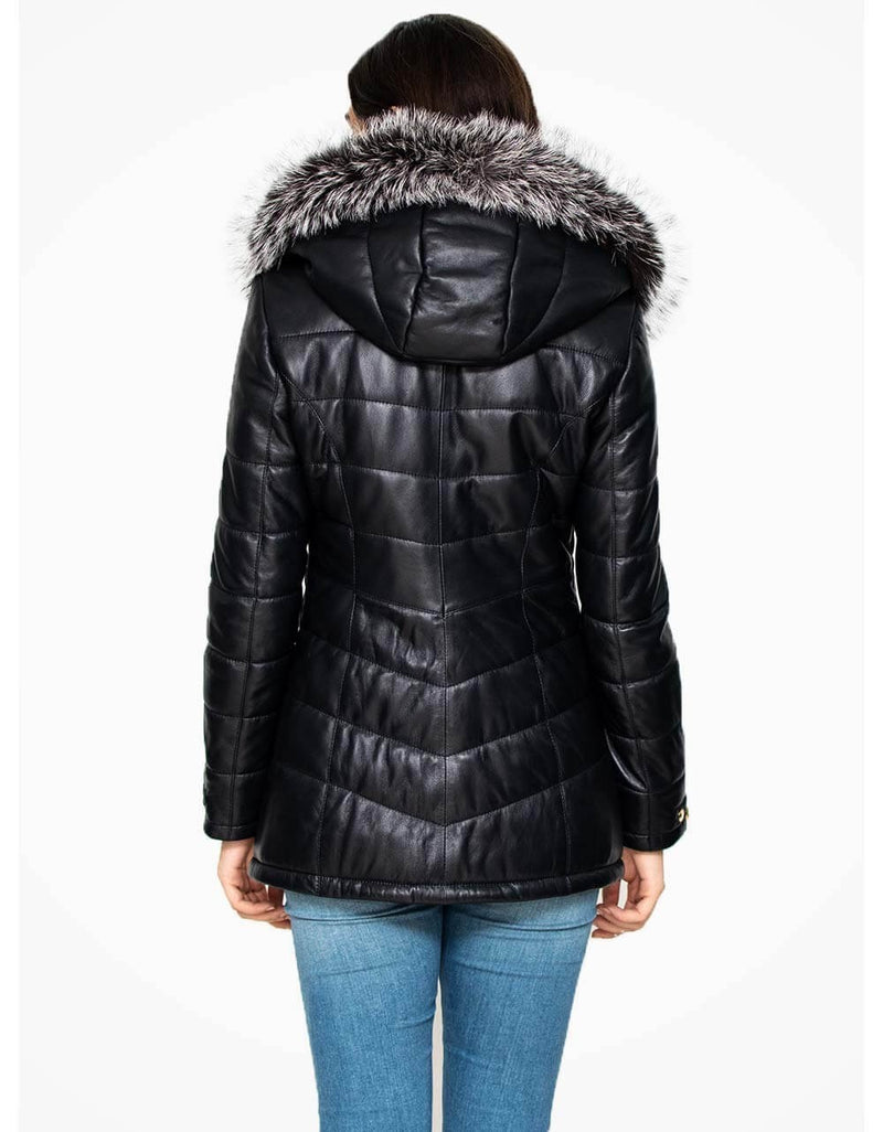 Black Fur Trimmed Hooded Leather Coat For Women