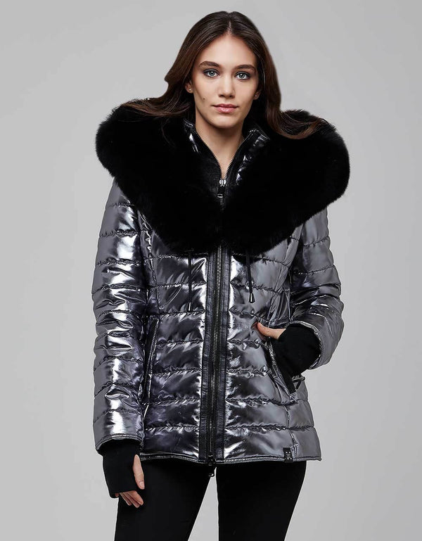 Silver Fur Trimmed Metallic Jacket For Women