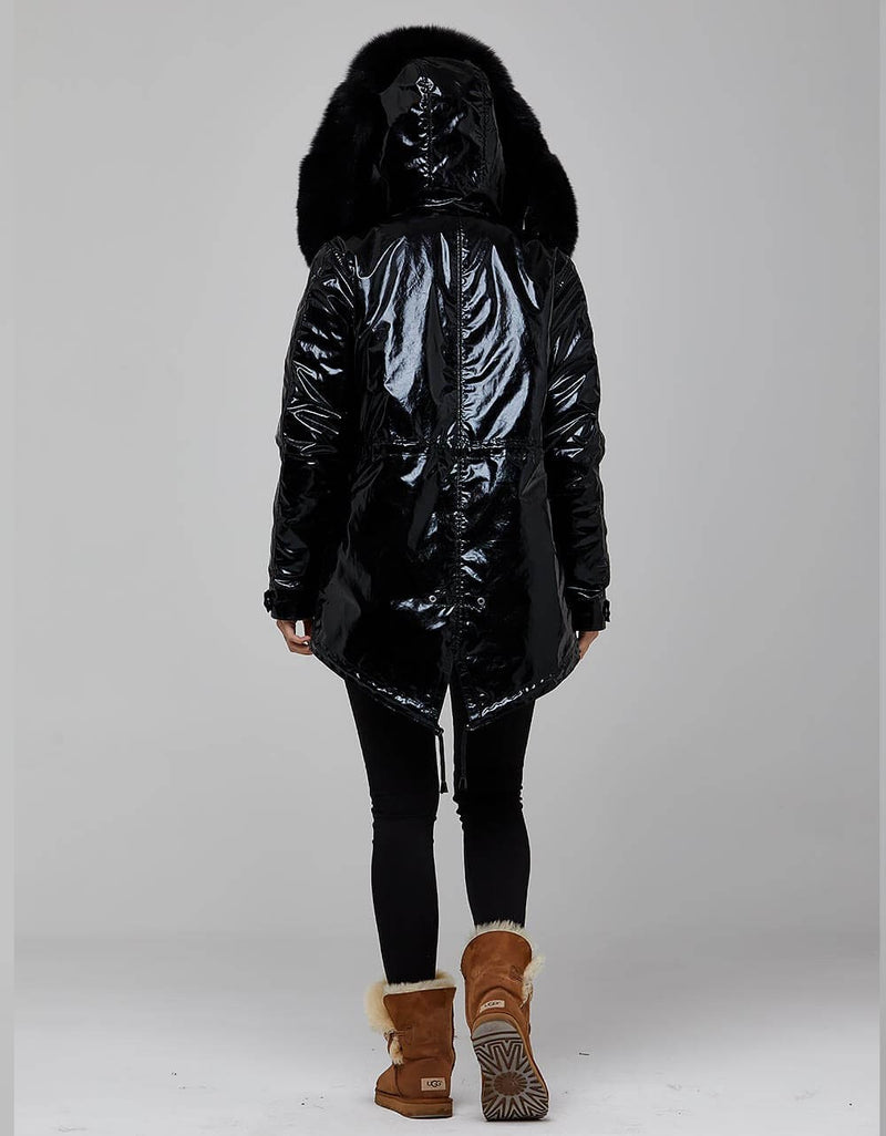 Black Fur Trimmed Metallic Parka For Women