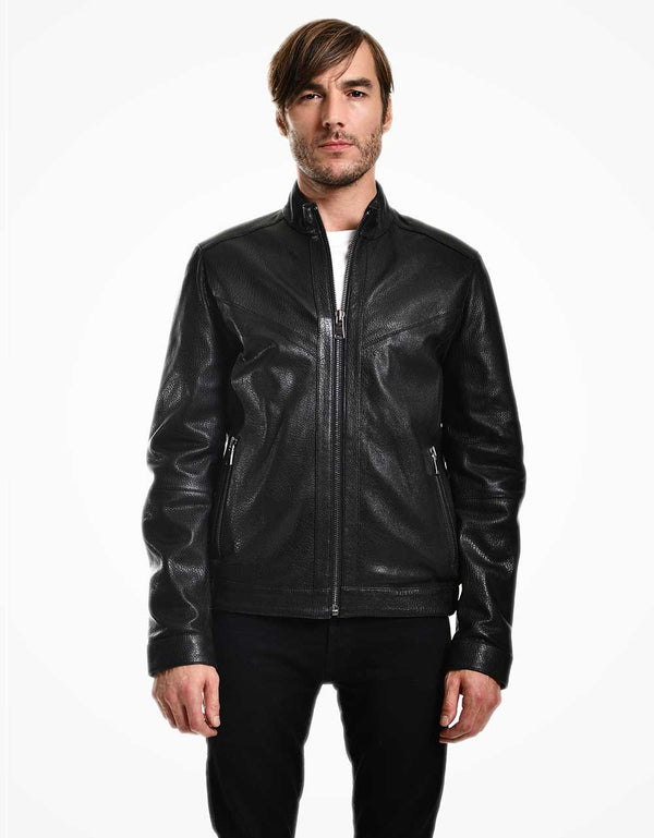 Black Jumbo Leather Bomber Jacket For Men