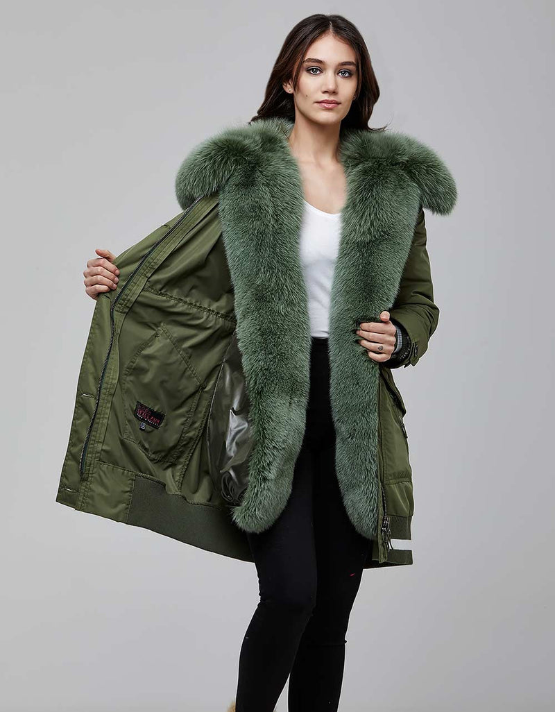 Green Fur Trimmed Bombers Parka For Women