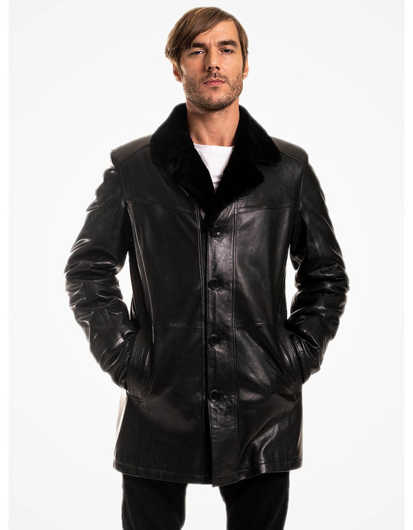 Black Vegetal Leather Coat For Men