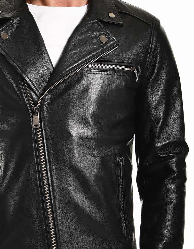 Black Biker Leather Jacket For Men