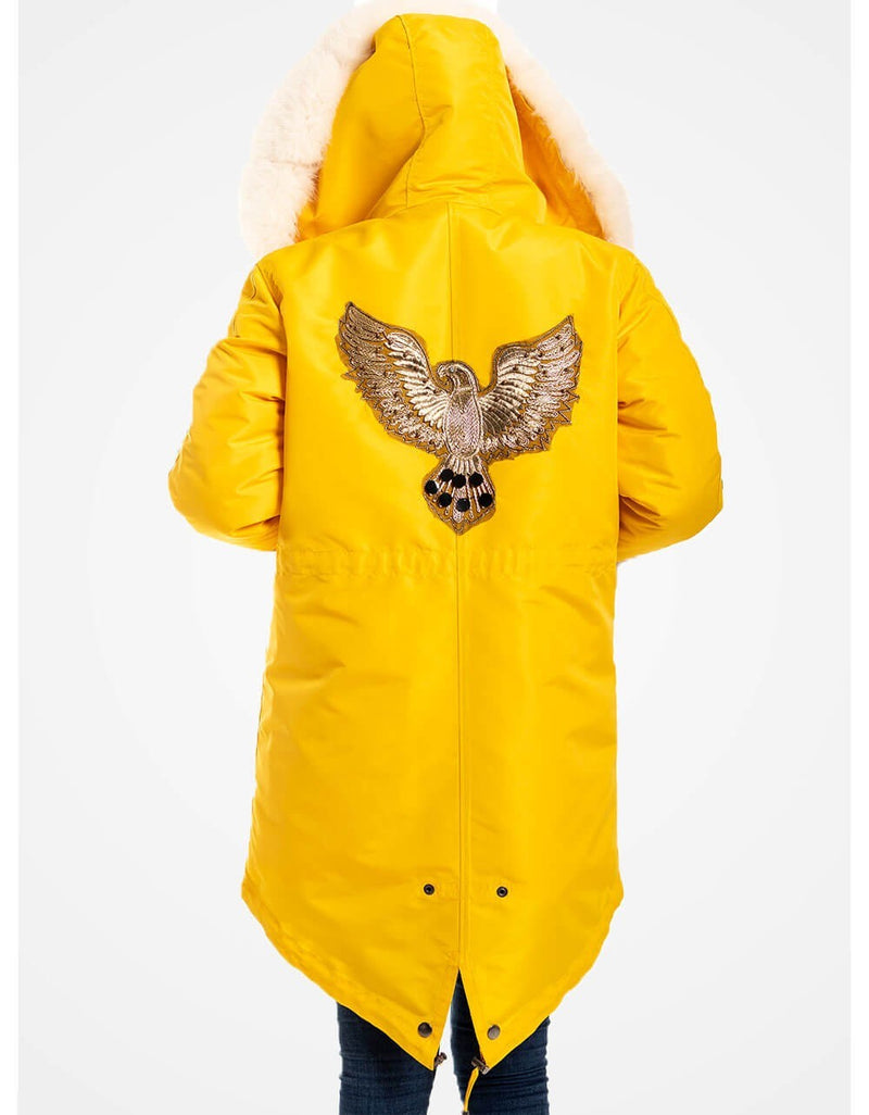 Yellow Fur Trimmed Parka For Women