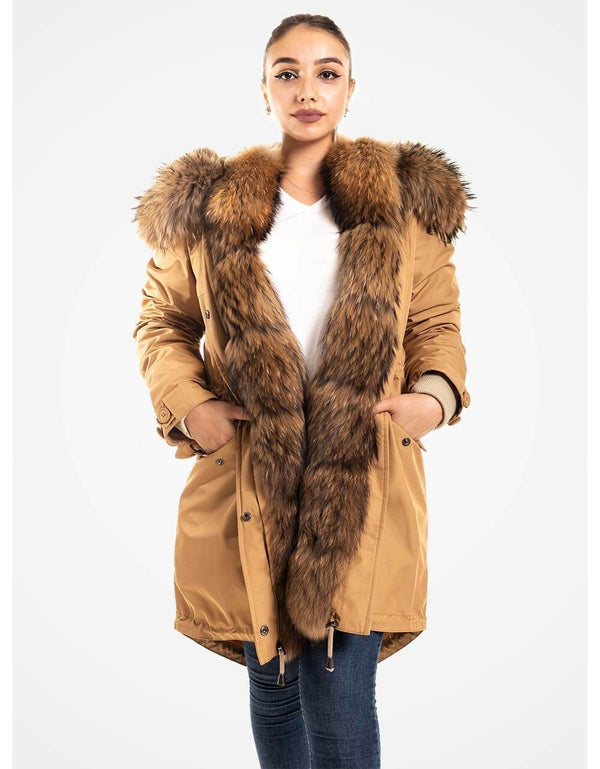 Latte Fur Trimmed Parka For Women