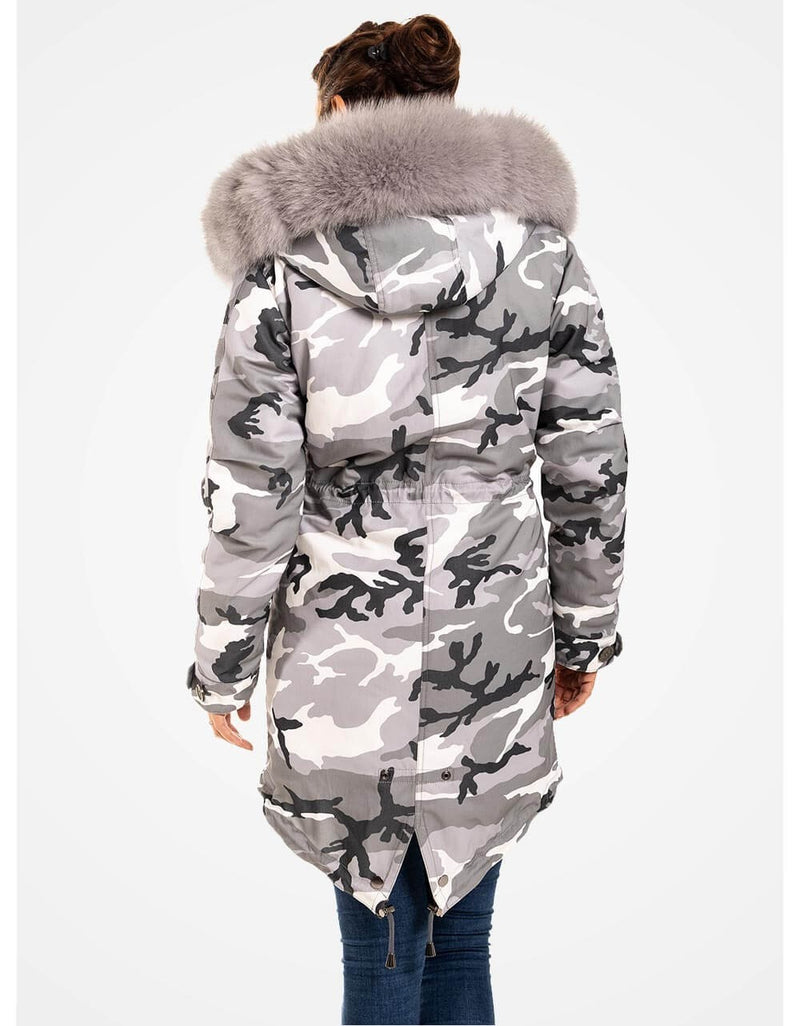 Fox Fur Camouflage Parka For Women