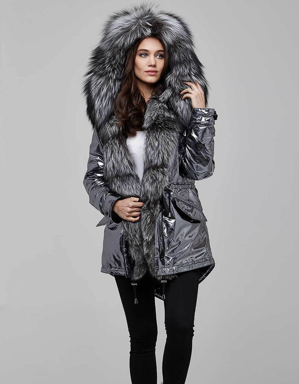 Silver Fur Trimmed Metallic Parka For Women