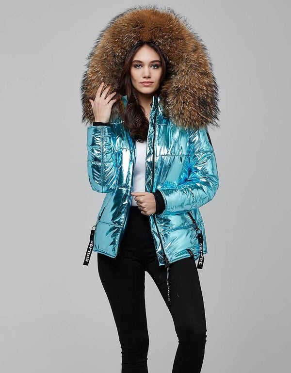 Blue Fur Trimmed Metallic Parka For Women