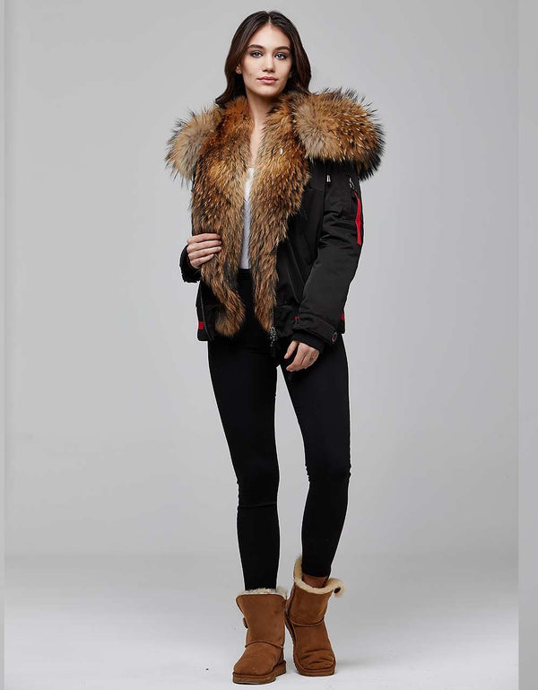 Black Fur Trimmed Bombers Jacket For Women