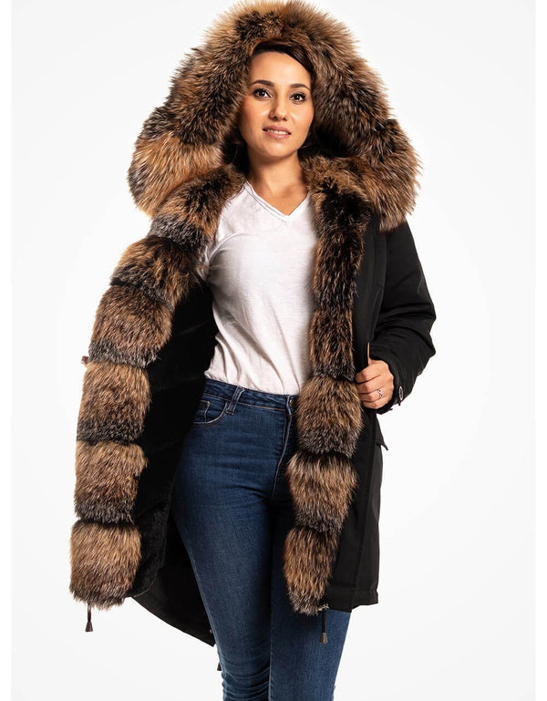 Fur Trimmed Black Parka With Fur Lining For Women