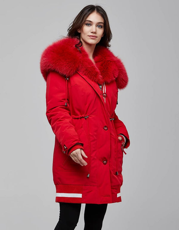 Red Fur Trimmed Bombers Parka For Women