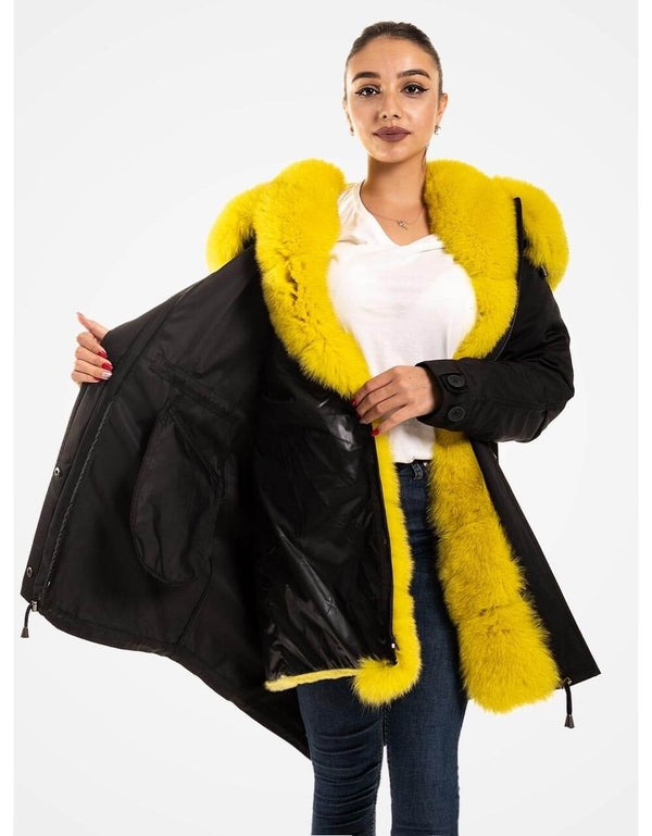 Fur Trimmed Parka With Fur For Women Black
