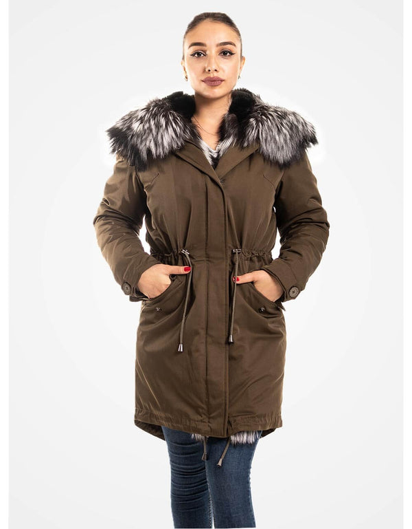 Khaki Fur Trimmed Parka Fur Lining For Women