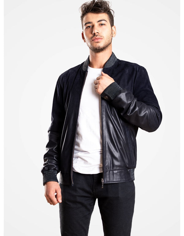 Blue DeGraded Leather Bomber Jacket For Men