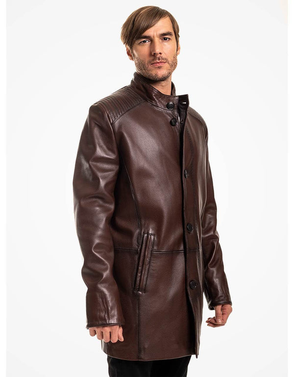 Brown Leather Coat For Men