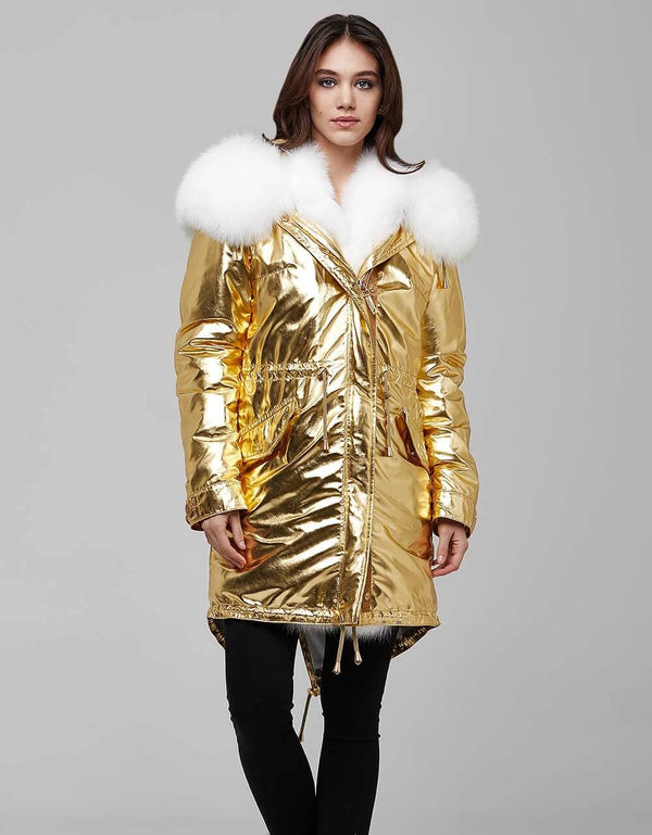 Gold Fur Trimmed Metallic Parka For Women