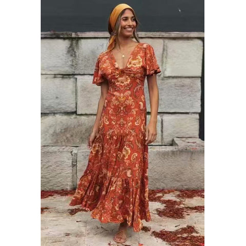 vestido bohemio largo de color naranja