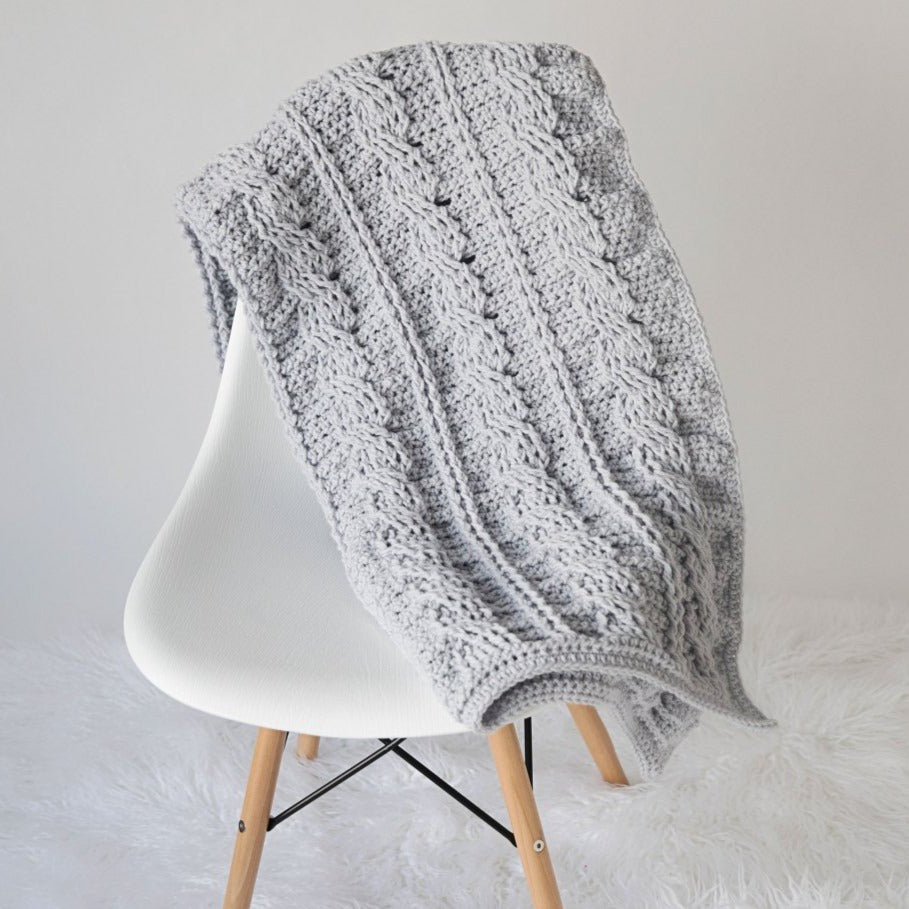Cabled Throw Blanket Crochet Pattern