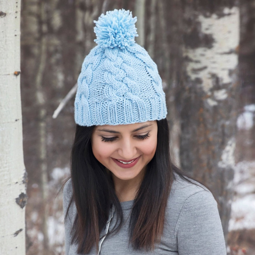 Braided Cable Knit Hat Knitting Pattern