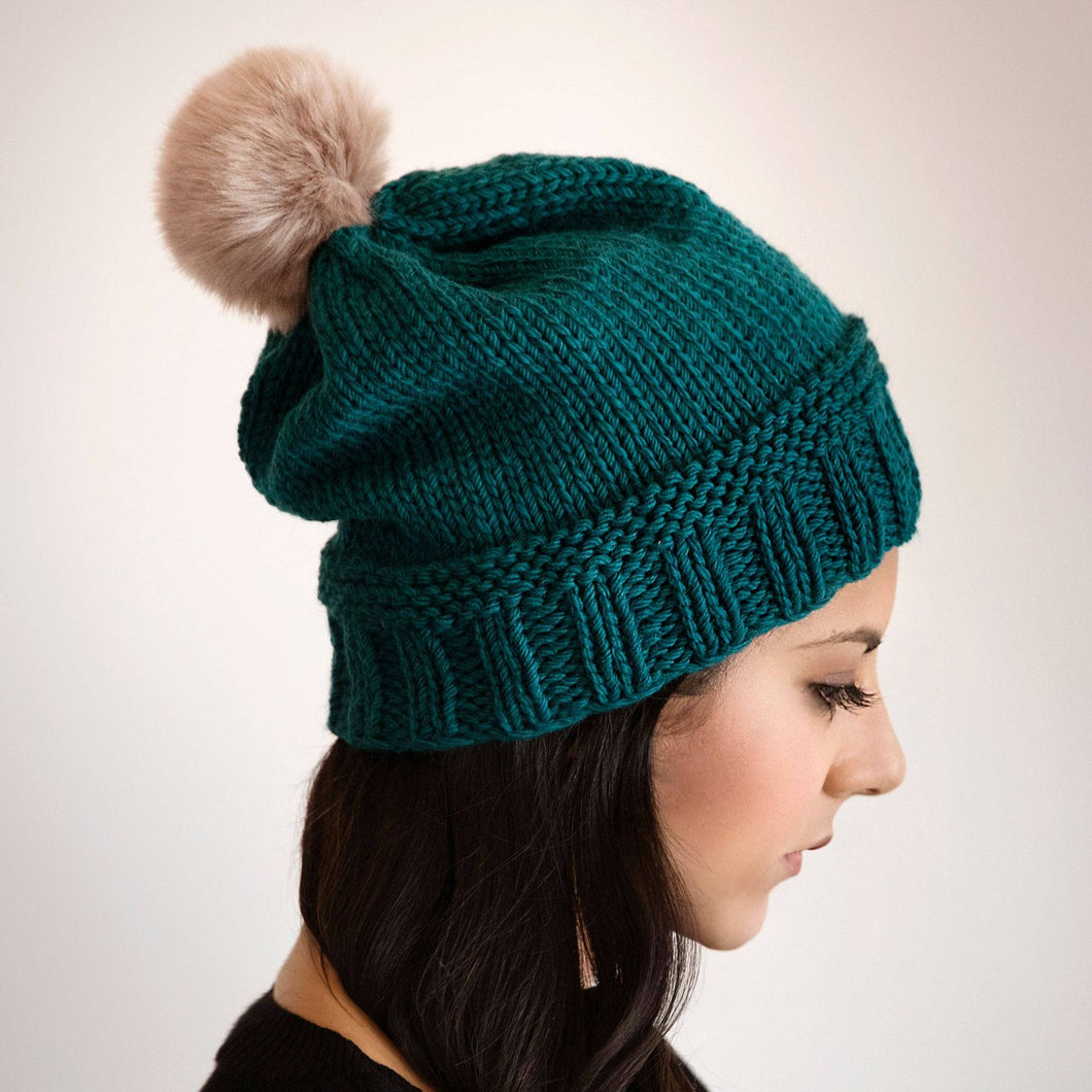 Simple Slouchy Winter Beanie Knitting Pattern
