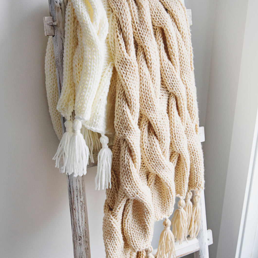 Creamy Cables Blanket Knitting Pattern