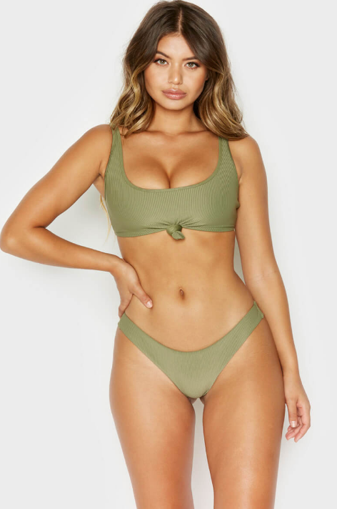 FRANKIES - GREER TOP - OLIVE RIB