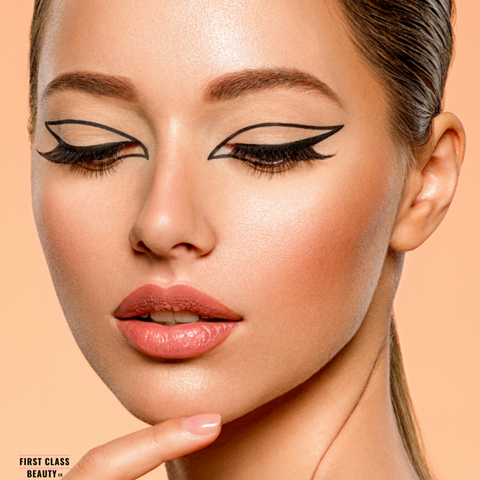 graphic eyeliner look with precision tip eyeliner