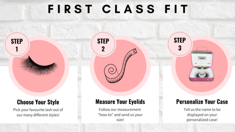 custom fit and personalized false eyelashes by first class beauty co in three easy steps