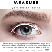 how to measure your custom lashes by first class beauty co