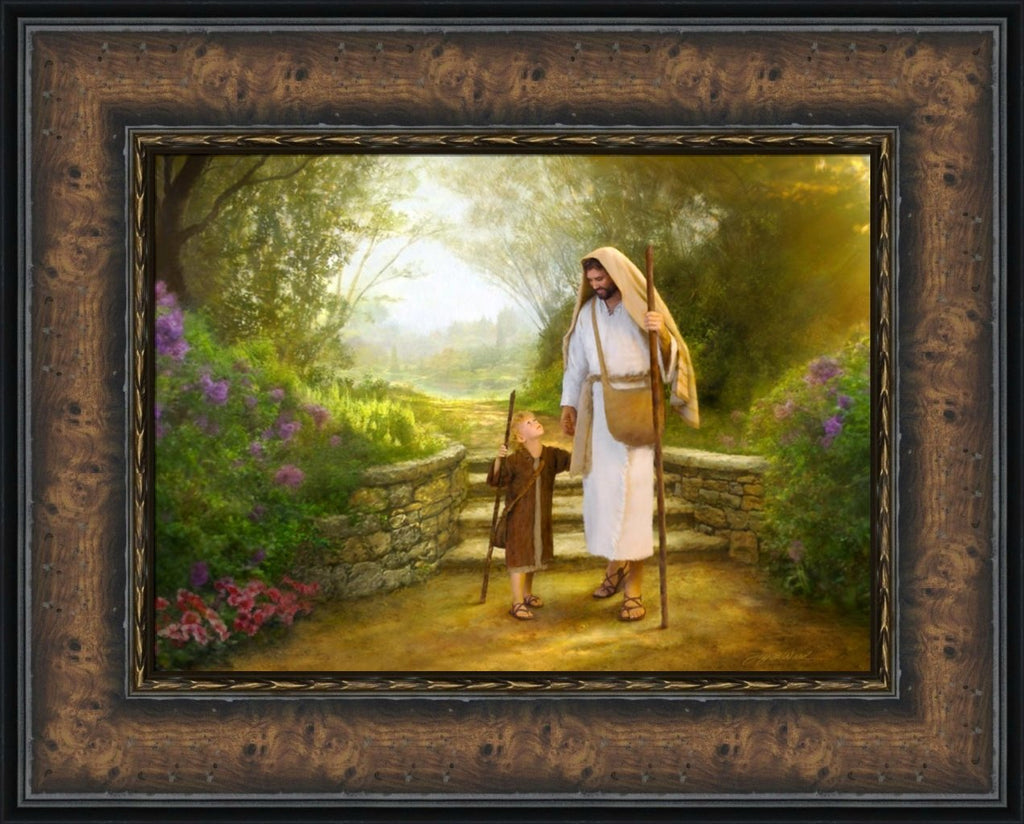 Lead Me, Guide Me - 17x20 framed giclee canvas burl wood