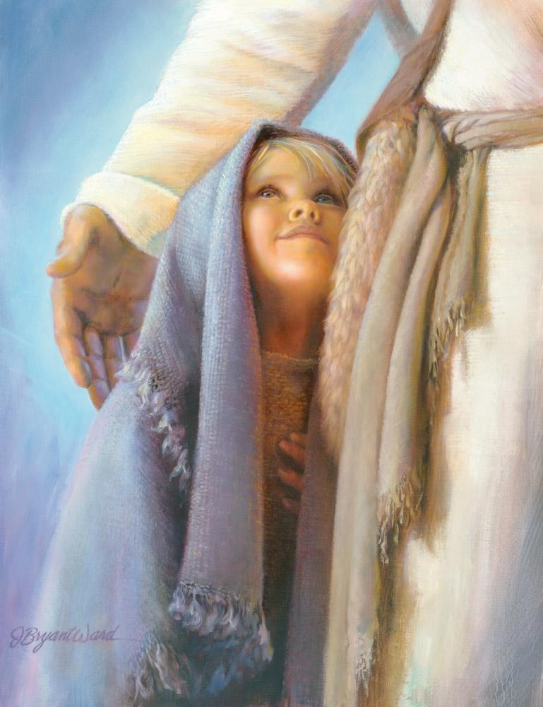 Young girl looking up at Jesus who has his arm around her for comfort