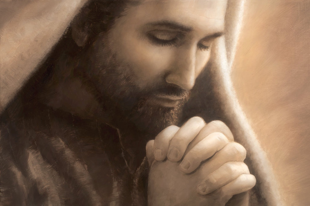Monotone close up portrait of Jesus in prayer