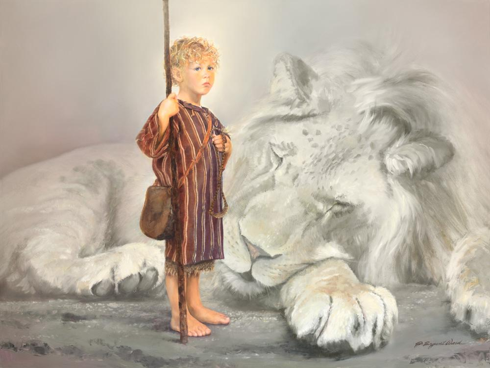 Boy David with spear standing by slain white Lion